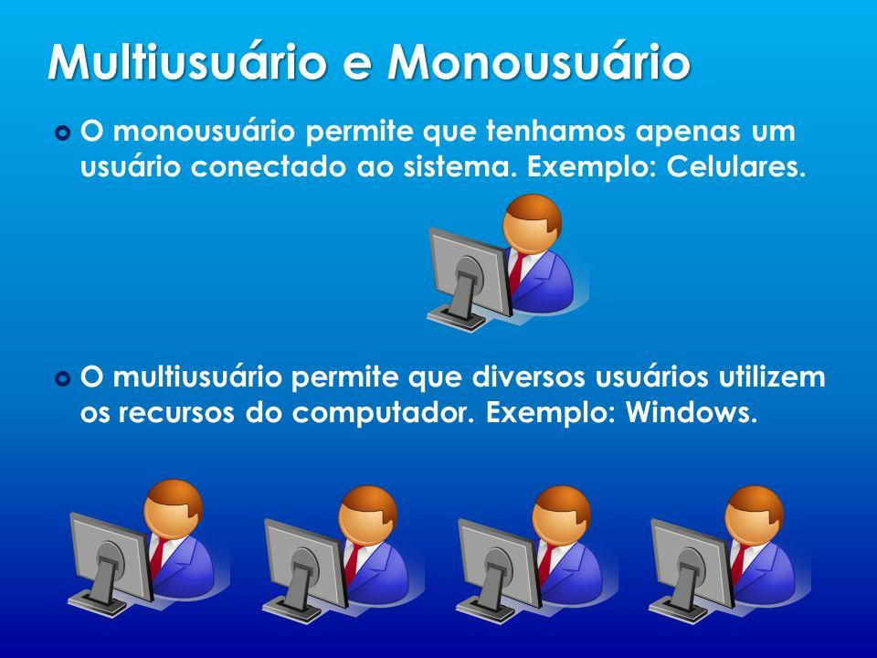 Multiusuário e Monousuário O monousuário permite que tenhamos apenas um usuário conectado ao sistema. Exemplo: Celulares. O multiusuário permite que d