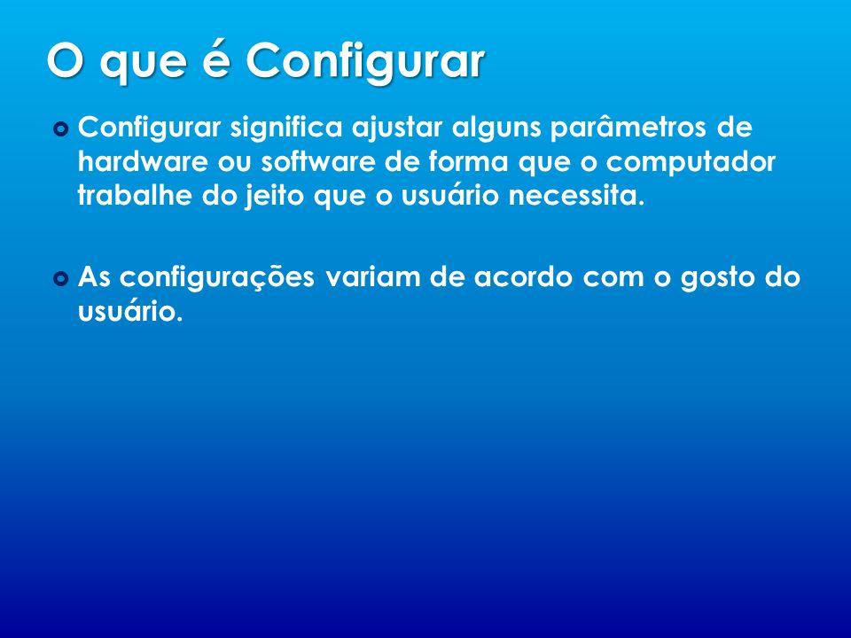 O que é Configurar Configurar significa ajustar alguns parâmetros de hardware ou software de forma que o computador trabalhe do jeito que o usuário ne