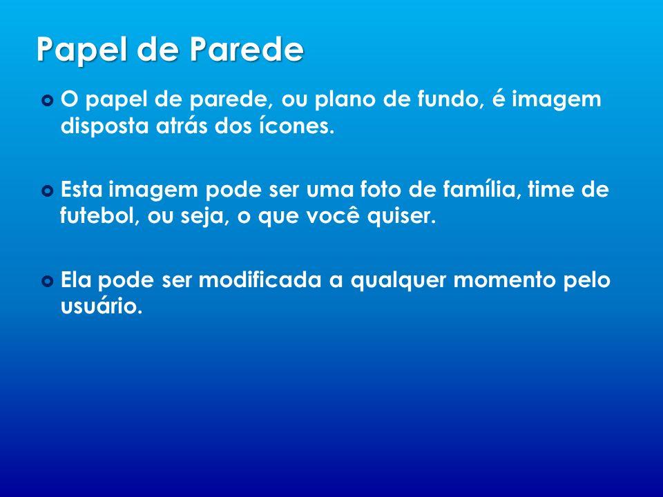 Papel de Parede O papel de parede, ou plano de fundo, é imagem disposta atrás dos ícones. Esta imagem pode ser uma foto de família, time de futebol, o