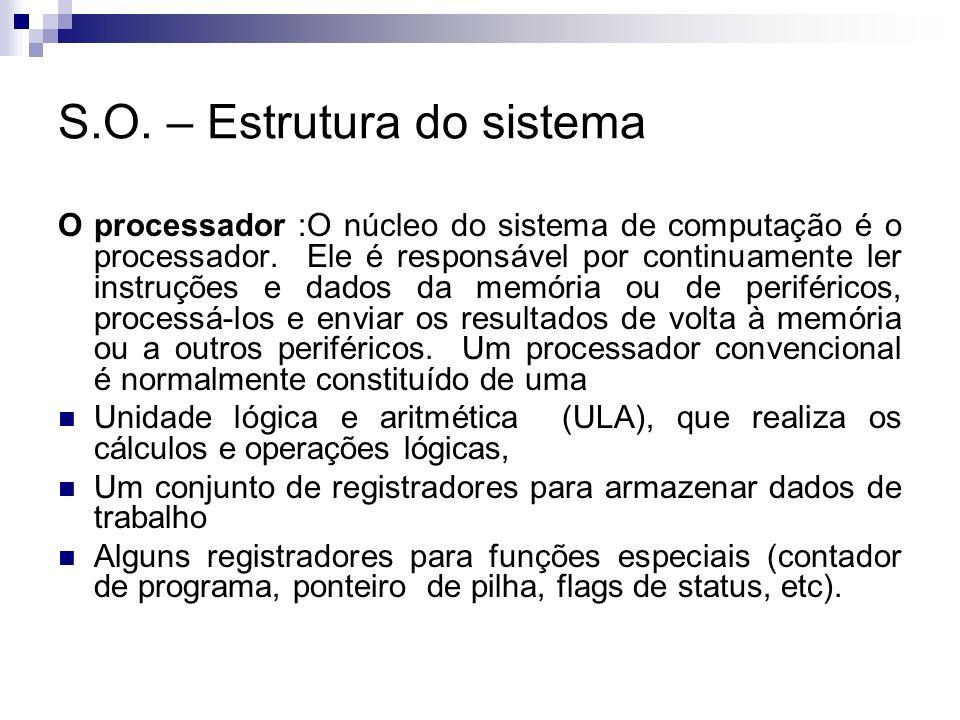 S.O. – Estrutura do sistema O processador :O núcleo do sistema de computação é o processador. Ele é responsável por continuamente ler instruções e dad