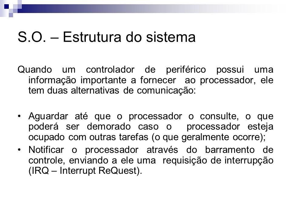 S.O. – Estrutura do sistema Quando um controlador de periférico possui uma informação importante a fornecer ao processador, ele tem duas alternativas