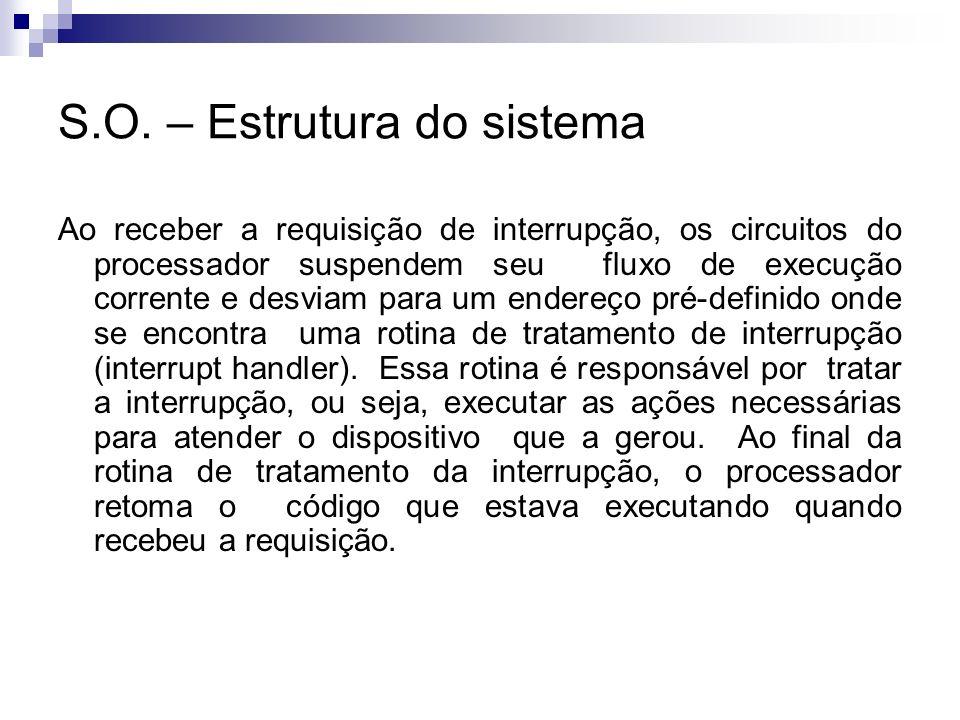 S.O. – Estrutura do sistema Ao receber a requisição de interrupção, os circuitos do processador suspendem seu fluxo de execução corrente e desviam par
