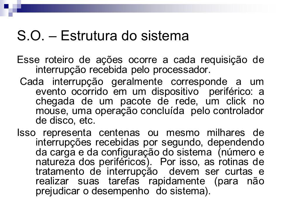 S.O. – Estrutura do sistema Esse roteiro de ações ocorre a cada requisição de interrupção recebida pelo processador. Cada interrupção geralmente corre