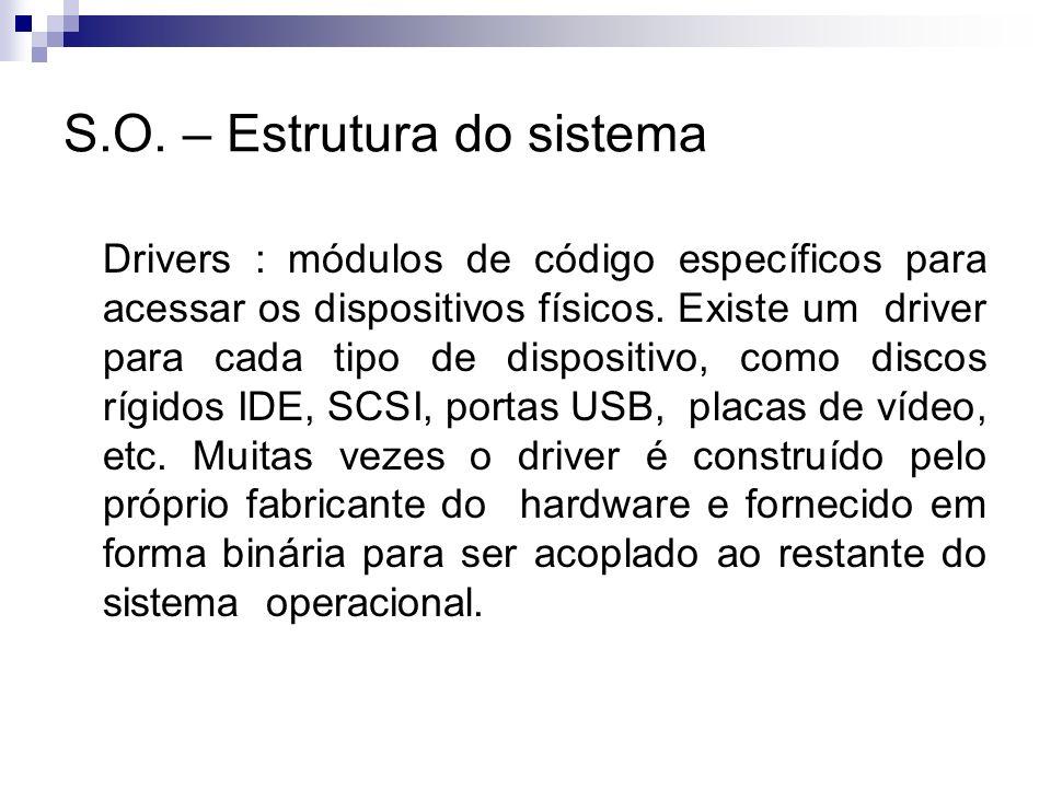 S.O. – Estrutura do sistema Drivers : módulos de código específicos para acessar os dispositivos físicos. Existe um driver para cada tipo de dispositi