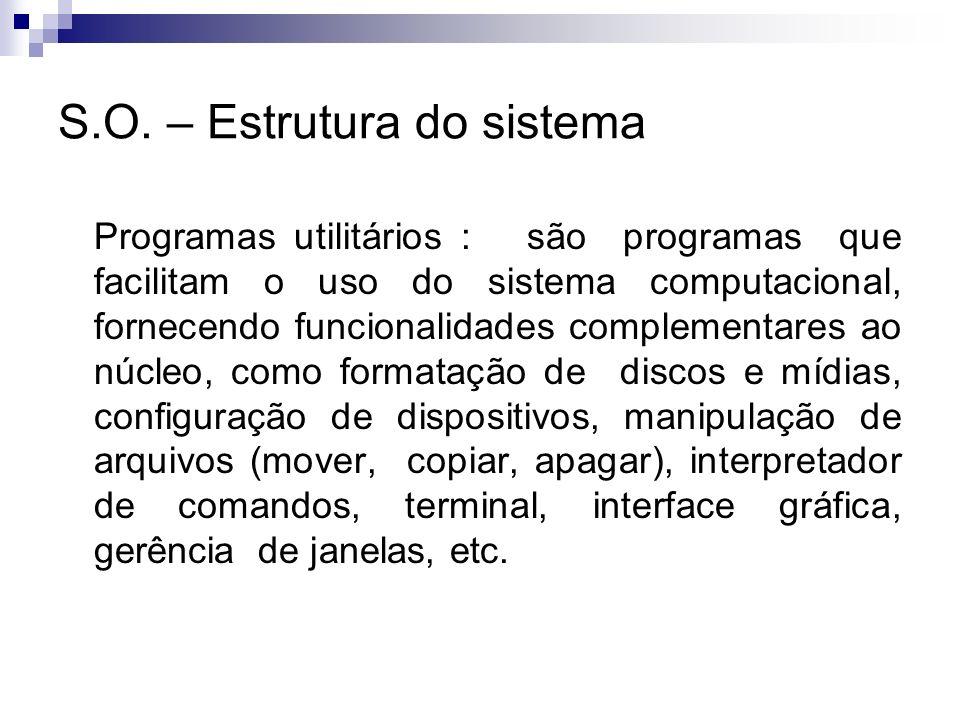 S.O. – Estrutura do sistema Programas utilitários : são programas que facilitam o uso do sistema computacional, fornecendo funcionalidades complementa