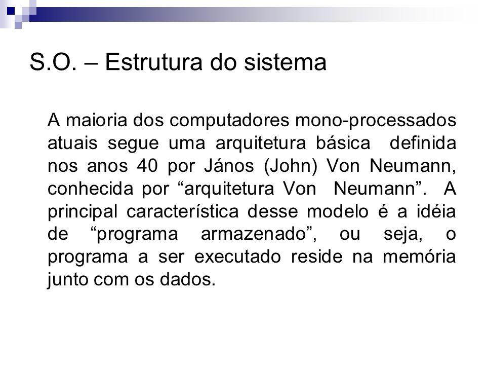 A maioria dos computadores mono-processados atuais segue uma arquitetura básica definida nos anos 40 por János (John) Von Neumann, conhecida por arqui