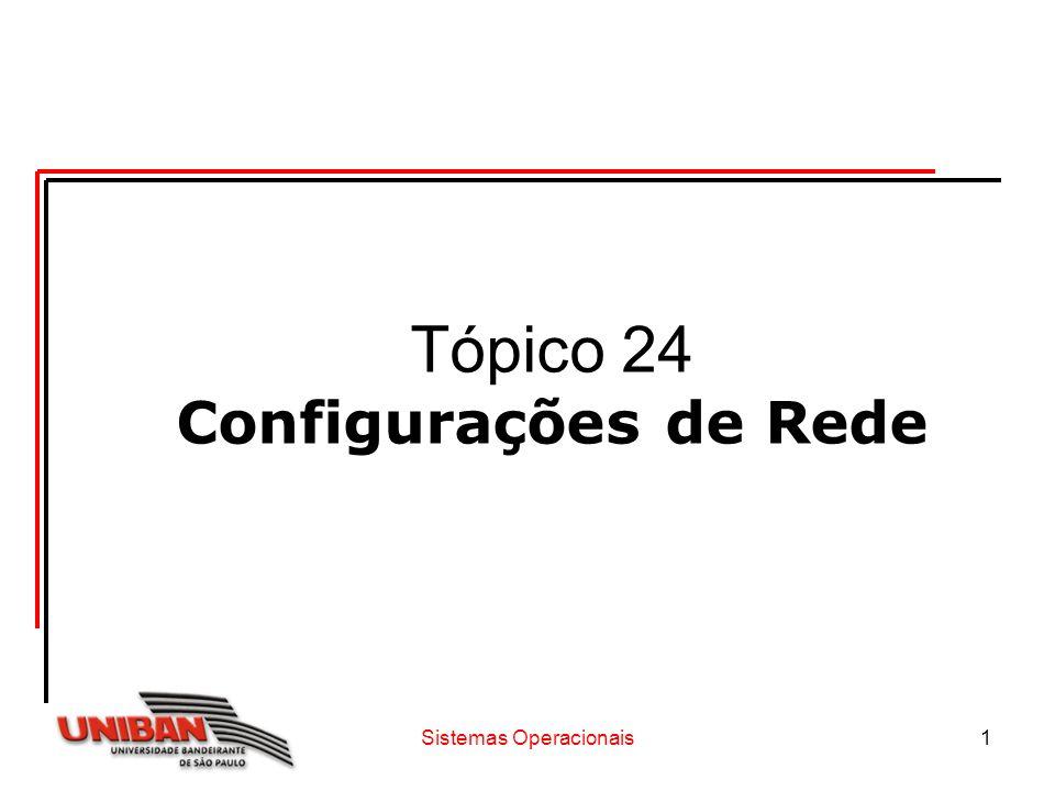 Sistemas Operacionais1 Tópico 24 Configurações de Rede