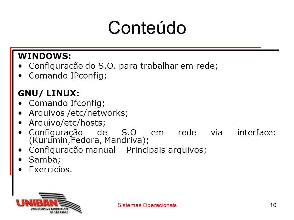 10 Conteúdo WINDOWS: Configuração do S.O. para trabalhar em rede; Comando IPconfig; GNU/ LINUX: Comando Ifconfig; Arquivos /etc/networks; Arquivo/etc/