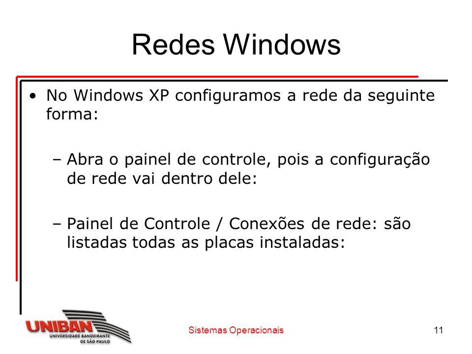 Sistemas Operacionais11 Redes Windows No Windows XP configuramos a rede da seguinte forma: –Abra o painel de controle, pois a configuração de rede vai
