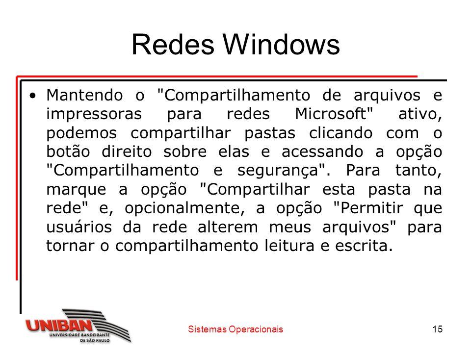 Sistemas Operacionais15 Redes Windows Mantendo o