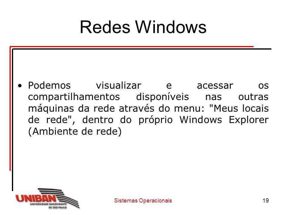 Sistemas Operacionais19 Redes Windows Podemos visualizar e acessar os compartilhamentos disponíveis nas outras máquinas da rede através do menu: