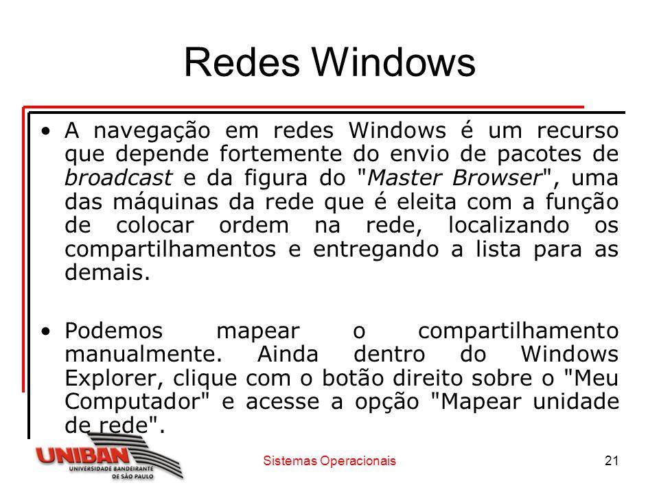 Sistemas Operacionais21 Redes Windows A navegação em redes Windows é um recurso que depende fortemente do envio de pacotes de broadcast e da figura do