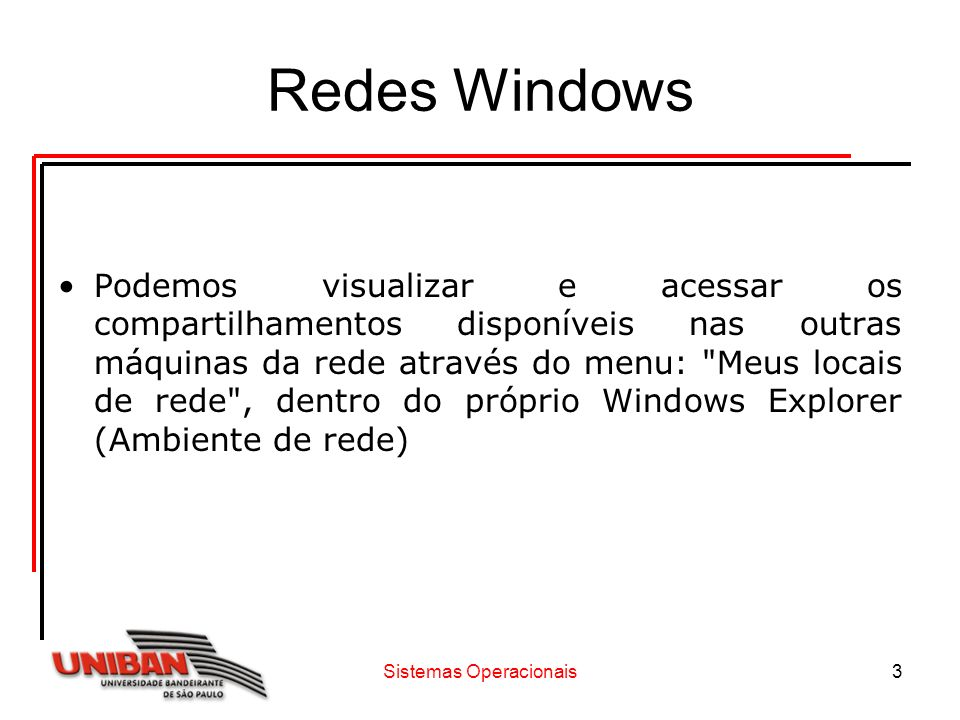Sistemas Operacionais14 Redes Windows