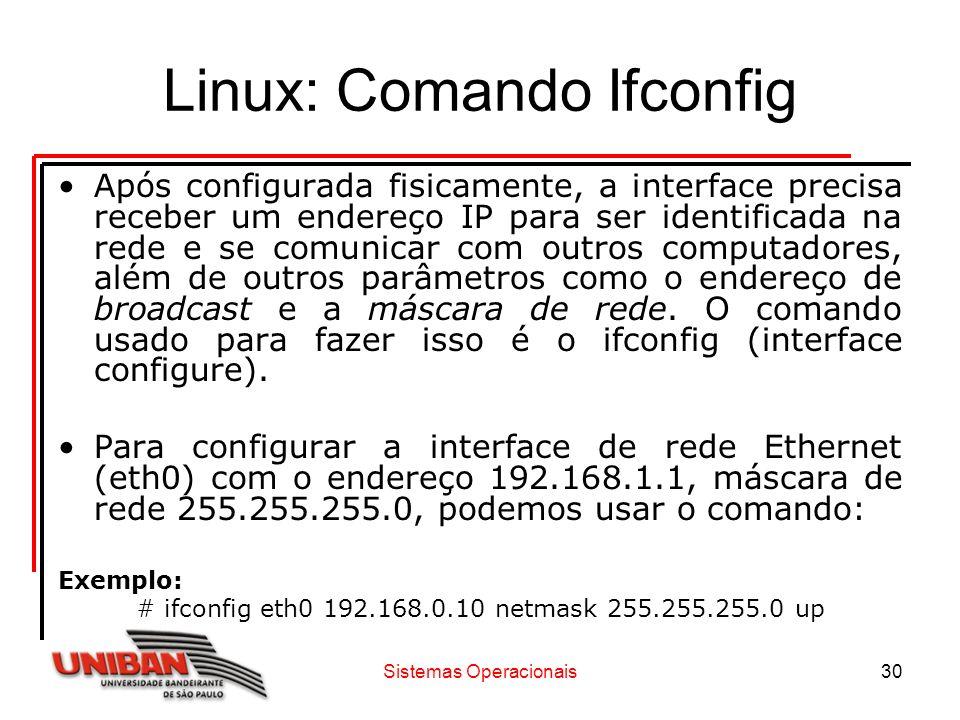 Sistemas Operacionais30 Linux: Comando Ifconfig Após configurada fisicamente, a interface precisa receber um endereço IP para ser identificada na rede