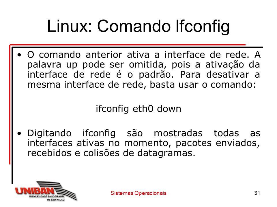 Sistemas Operacionais31 Linux: Comando Ifconfig O comando anterior ativa a interface de rede. A palavra up pode ser omitida, pois a ativação da interf