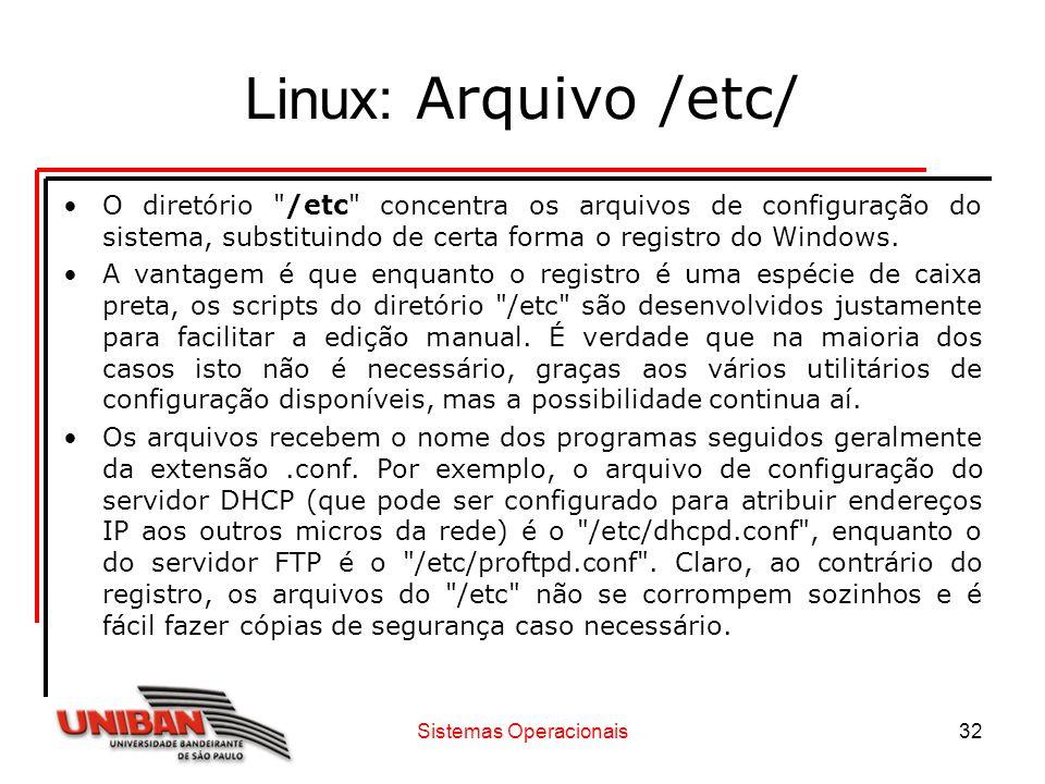 Sistemas Operacionais32 Linux: Arquivo /etc/ O diretório