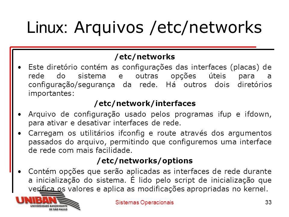 Sistemas Operacionais33 Linux: Arquivos /etc/networks /etc/networks Este diretório contém as configurações das interfaces (placas) de rede do sistema