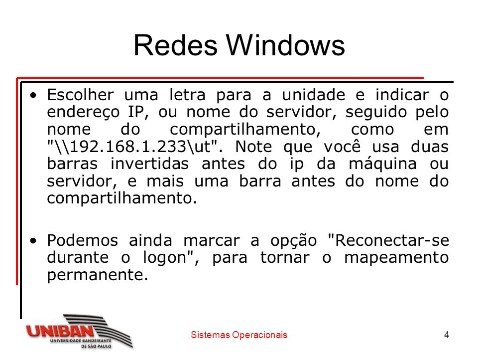 Sistemas Operacionais5 Redes Windows