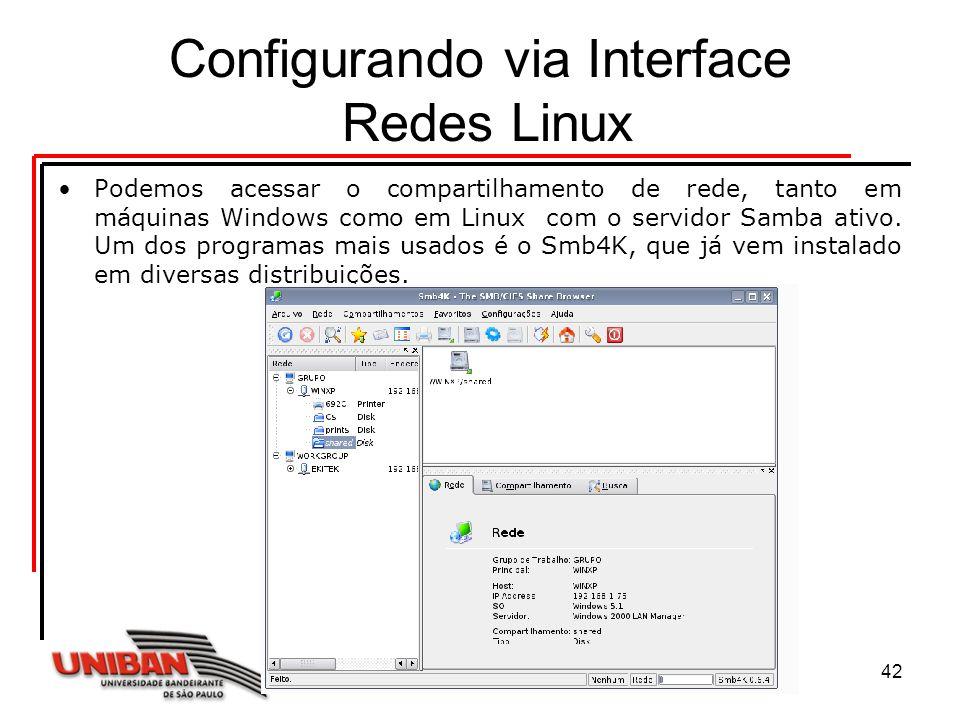 Sistemas Operacionais42 Configurando via Interface Redes Linux Podemos acessar o compartilhamento de rede, tanto em máquinas Windows como em Linux com