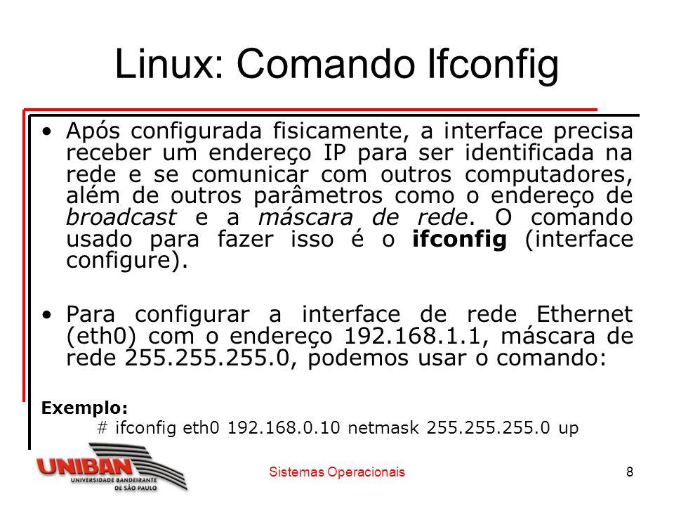 Sistemas Operacionais8 Linux: Comando Ifconfig Após configurada fisicamente, a interface precisa receber um endereço IP para ser identificada na rede