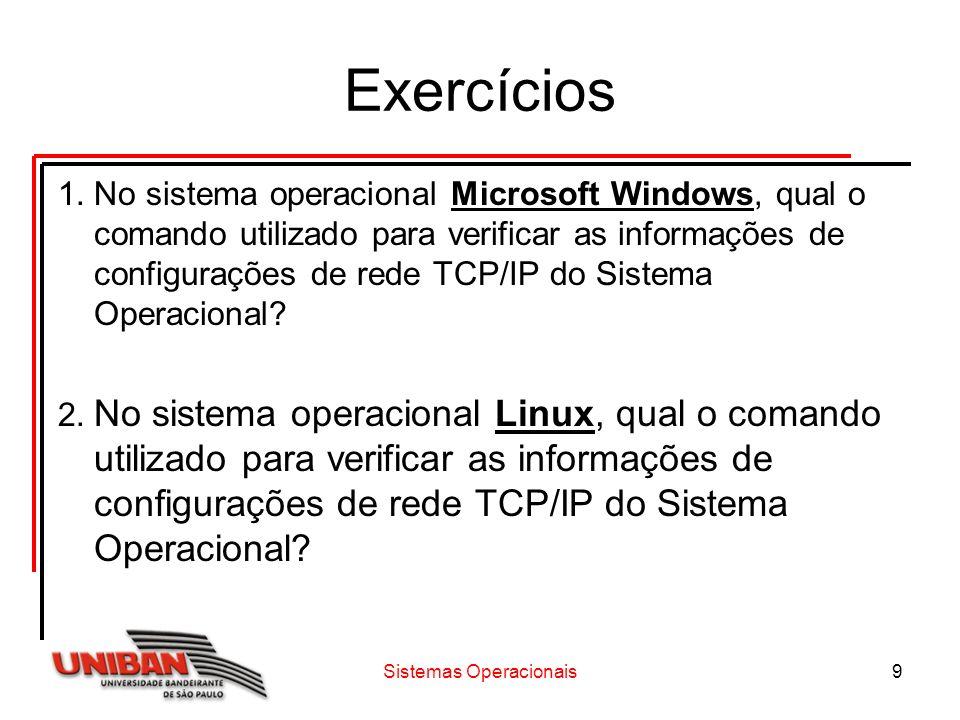 Exercícios 1.No sistema operacional Microsoft Windows, qual o comando utilizado para verificar as informações de configurações de rede TCP/IP do Siste