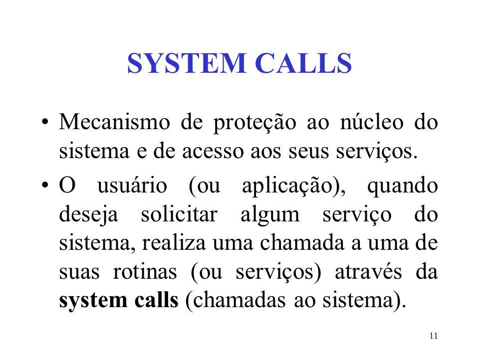 11 SYSTEM CALLS Mecanismo de proteção ao núcleo do sistema e de acesso aos seus serviços. O usuário (ou aplicação), quando deseja solicitar algum serv
