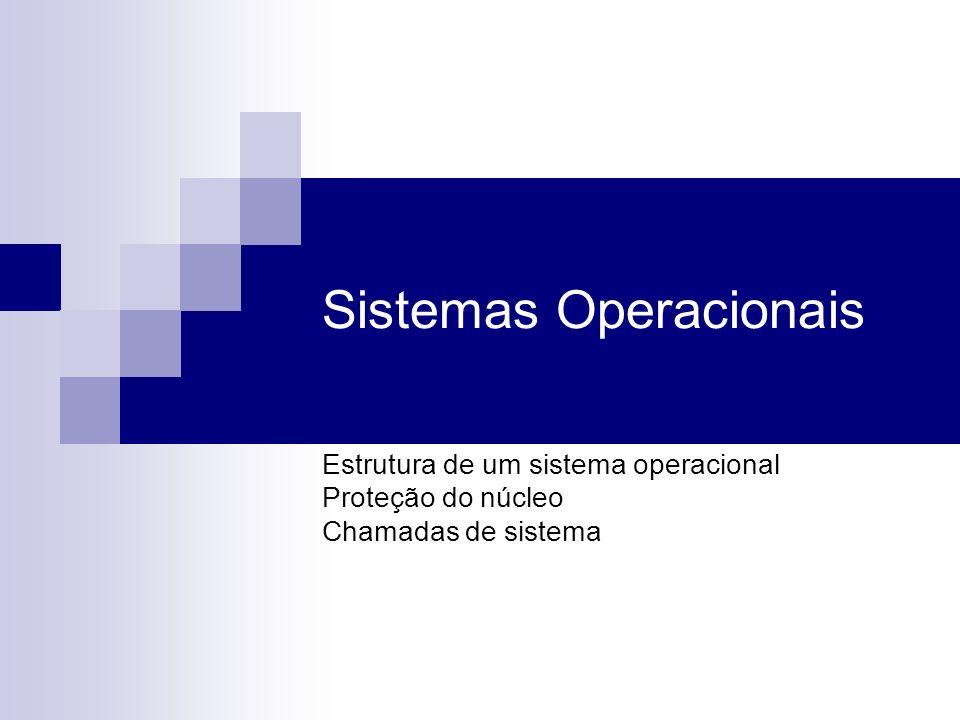 Sistemas Operacionais Estrutura de um sistema operacional Proteção do núcleo Chamadas de sistema