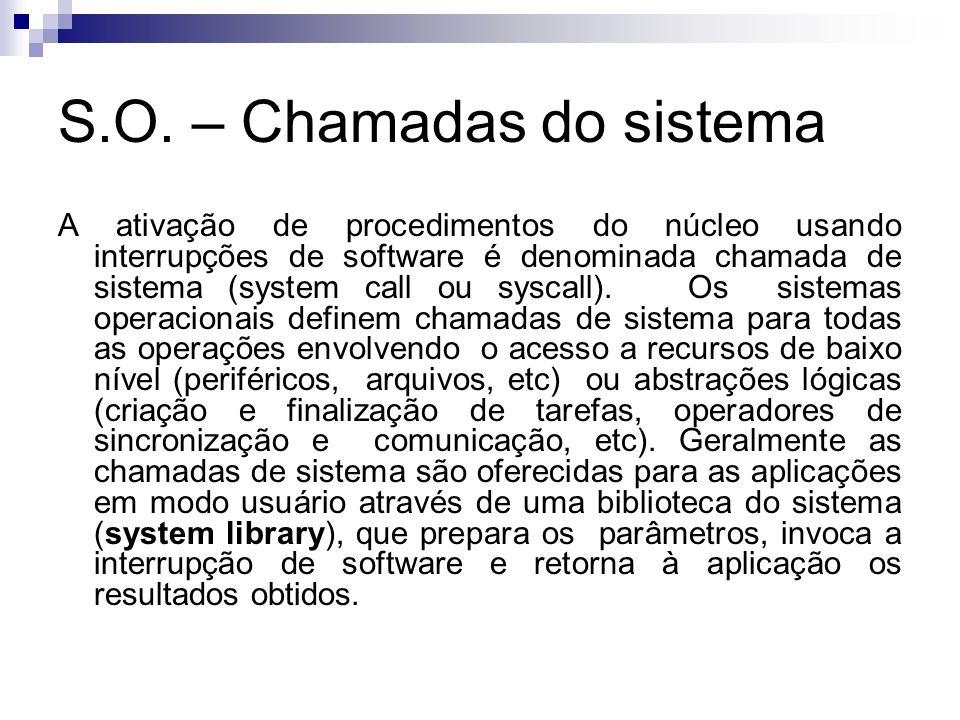 S.O. – Chamadas do sistema A ativação de procedimentos do núcleo usando interrupções de software é denominada chamada de sistema (system call ou sysca