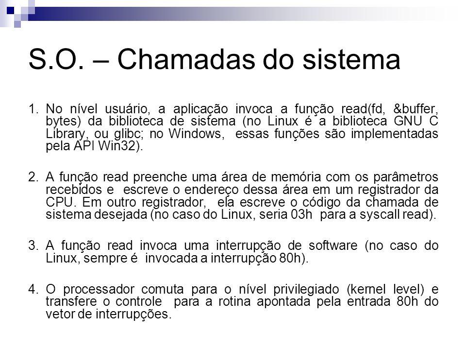 1.No nível usuário, a aplicação invoca a função read(fd, &buffer, bytes) da biblioteca de sistema (no Linux é a biblioteca GNU C Library, ou glibc; no