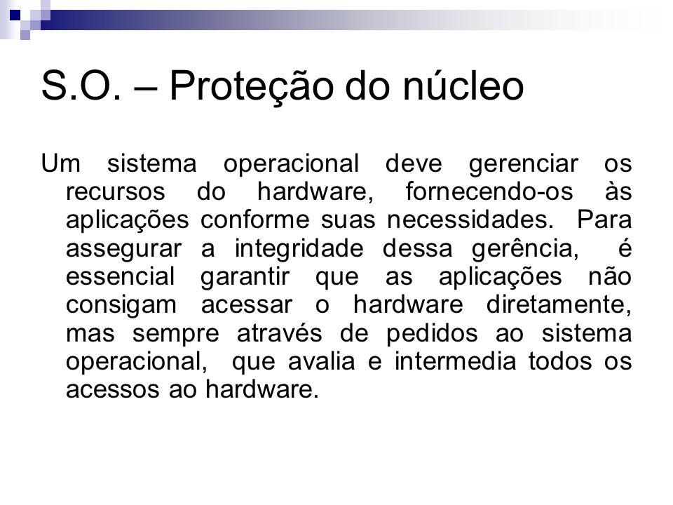 S.O. – Proteção do núcleo Um sistema operacional deve gerenciar os recursos do hardware, fornecendo-os às aplicações conforme suas necessidades. Para