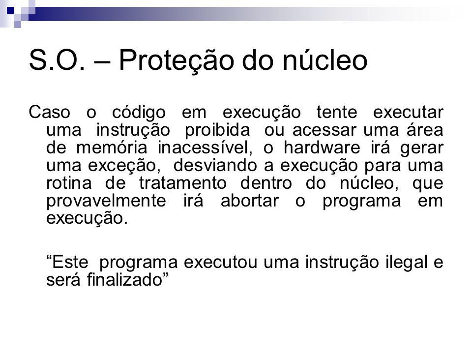 S.O. – Proteção do núcleo Caso o código em execução tente executar uma instrução proibida ou acessar uma área de memória inacessível, o hardware irá g