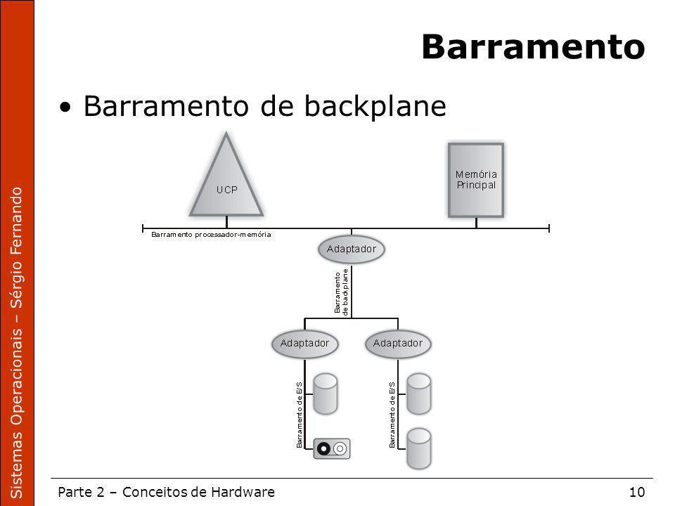 Sistemas Operacionais – Sérgio Fernando Parte 2 – Conceitos de Hardware10 Barramento Barramento de backplane
