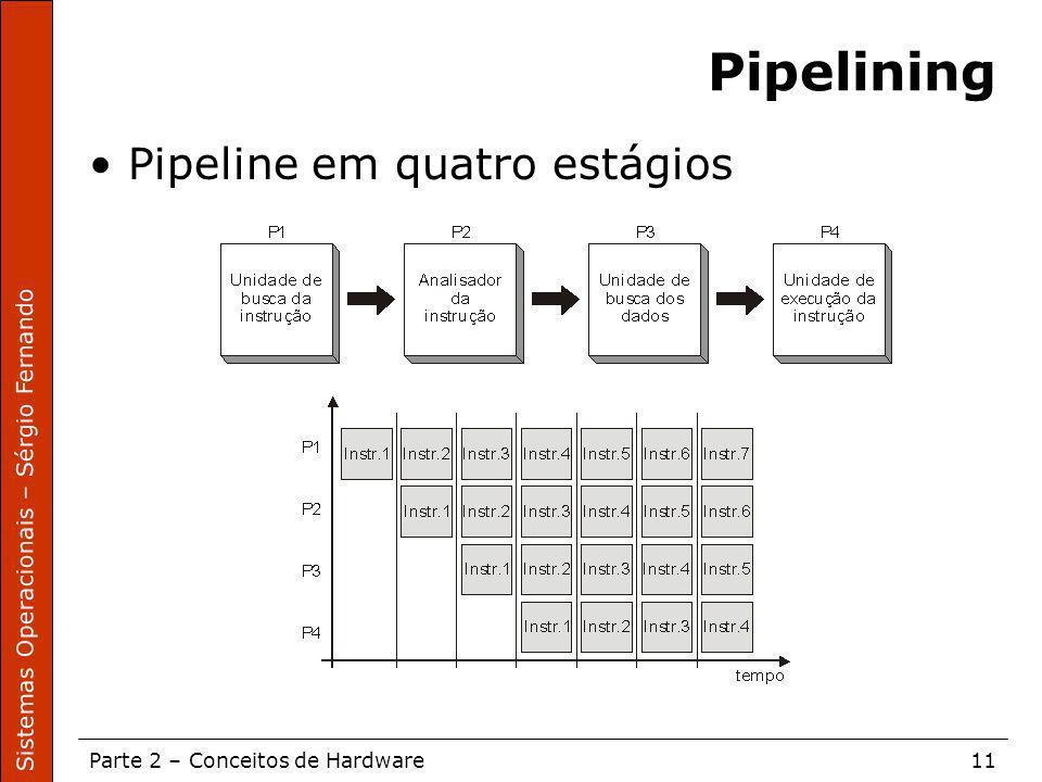 Sistemas Operacionais – Sérgio Fernando Parte 2 – Conceitos de Hardware11 Pipelining Pipeline em quatro estágios