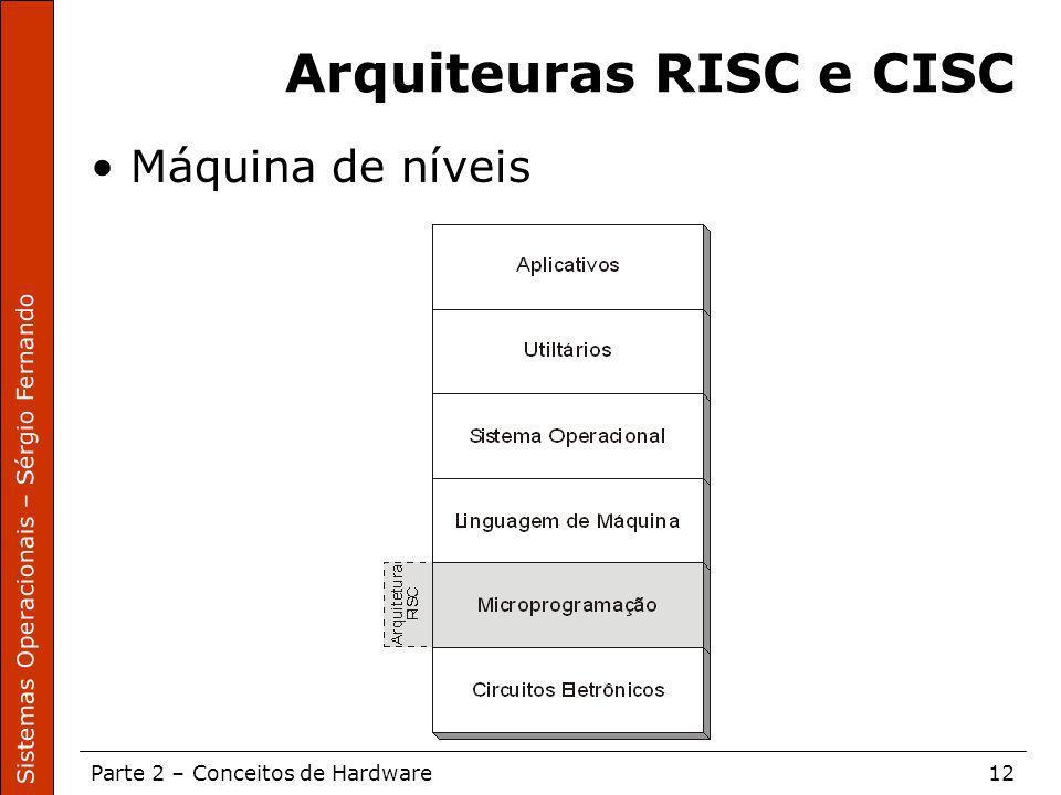 Sistemas Operacionais – Sérgio Fernando Parte 2 – Conceitos de Hardware12 Arquiteuras RISC e CISC Máquina de níveis