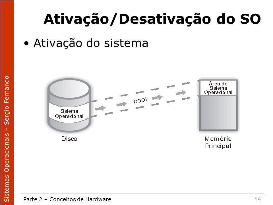 Sistemas Operacionais – Sérgio Fernando Parte 2 – Conceitos de Hardware14 Ativação/Desativação do SO Ativação do sistema