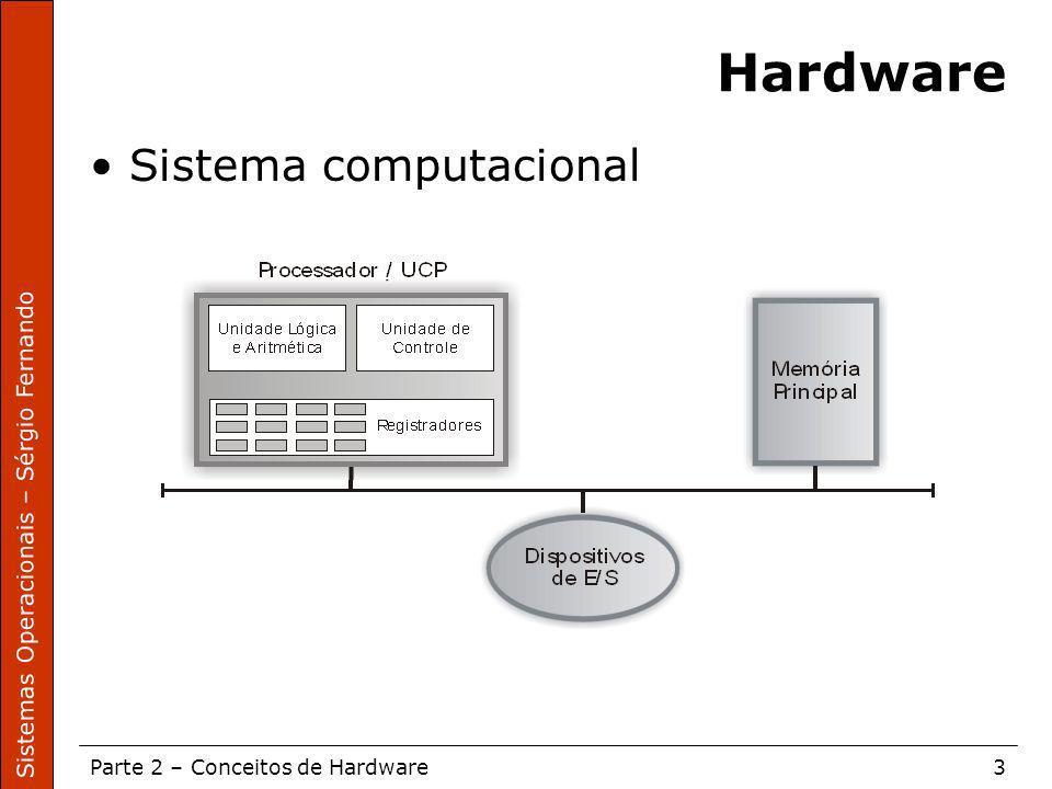 Sistemas Operacionais – Sérgio Fernando Parte 2 – Conceitos de Hardware3 Hardware Sistema computacional