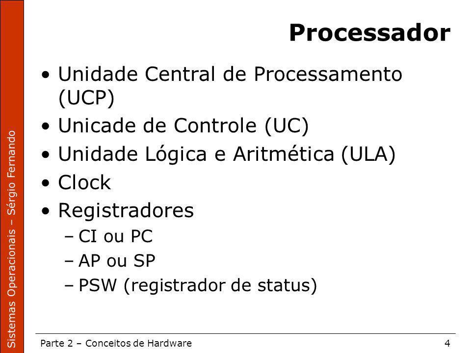 Sistemas Operacionais – Sérgio Fernando Parte 2 – Conceitos de Hardware4 Processador Unidade Central de Processamento (UCP) Unicade de Controle (UC) U