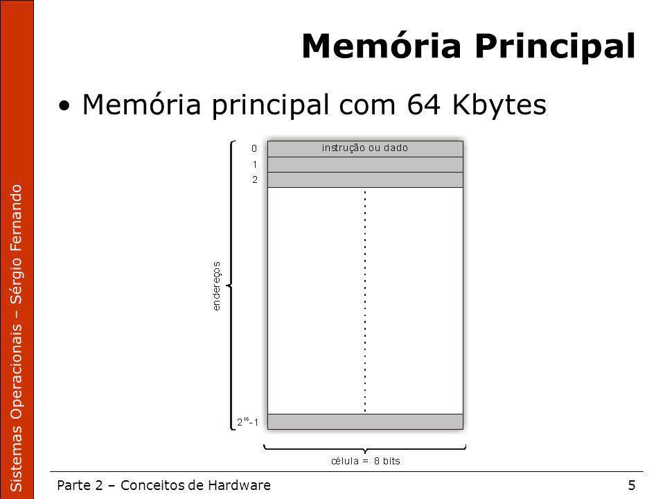 Sistemas Operacionais – Sérgio Fernando Parte 2 – Conceitos de Hardware5 Memória Principal Memória principal com 64 Kbytes