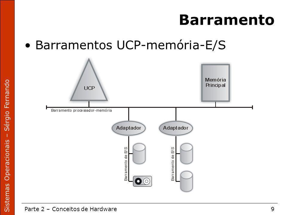 Sistemas Operacionais – Sérgio Fernando Parte 2 – Conceitos de Hardware9 Barramento Barramentos UCP-memória-E/S