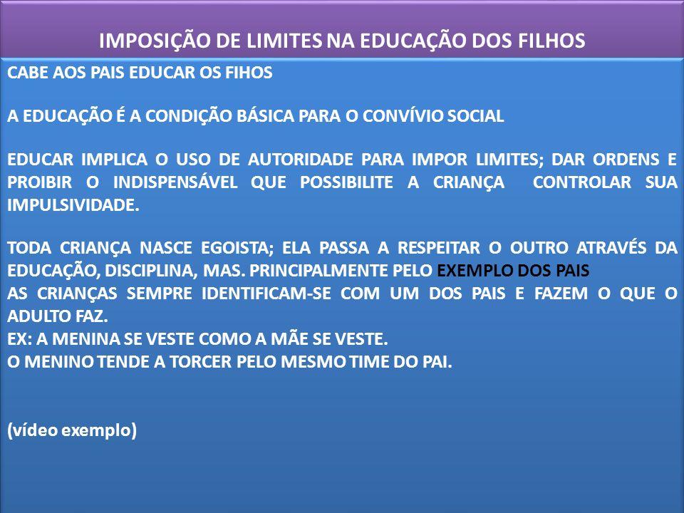 IMPOSIÇÃO DE LIMITES NA EDUCAÇÃO DOS FILHOS CABE AOS PAIS EDUCAR OS FIHOS A EDUCAÇÃO É A CONDIÇÃO BÁSICA PARA O CONVÍVIO SOCIAL EDUCAR IMPLICA O USO D