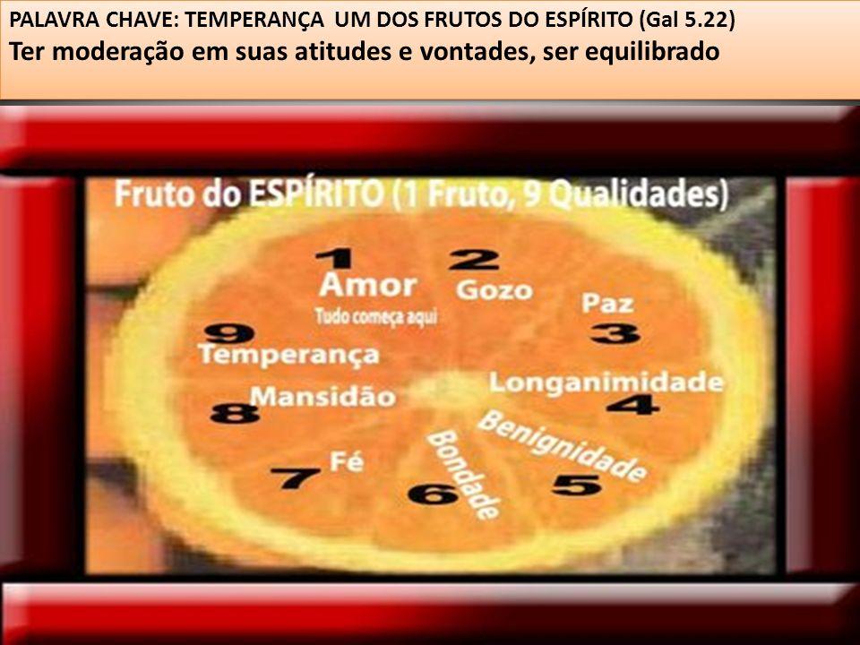PALAVRA CHAVE: TEMPERANÇA UM DOS FRUTOS DO ESPÍRITO (Gal 5.22) Ter moderação em suas atitudes e vontades, ser equilibrado PALAVRA CHAVE: TEMPERANÇA UM