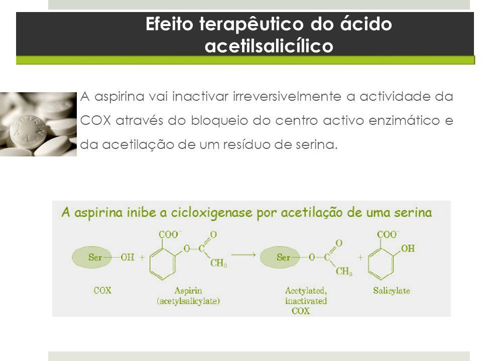 Efeito terapêutico do ácido acetilsalicílico A aspirina vai inactivar irreversivelmente a actividade da COX através do bloqueio do centro activo enzim