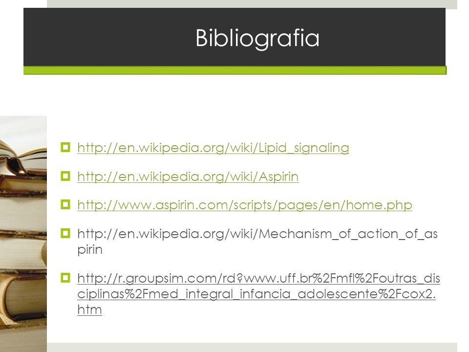 Bibliografia http://en.wikipedia.org/wiki/Lipid_signaling http://en.wikipedia.org/wiki/Aspirin http://www.aspirin.com/scripts/pages/en/home.php http:/
