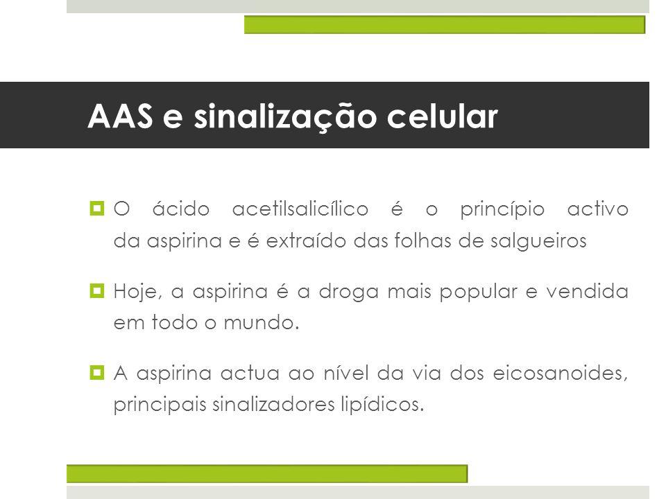 AAS e sinalização celular O ácido acetilsalicílico é o princípio activo da aspirina e é extraído das folhas de salgueiros Hoje, a aspirina é a droga m