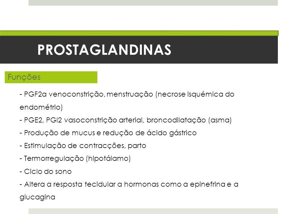 PROSTAGLANDINAS Funções - PGF2α venoconstrição, menstruação (necrose isquémica do endométrio) - PGE2, PGI2 vasoconstrição arterial, broncodilatação (a