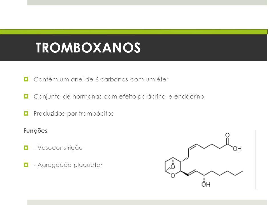 TROMBOXANOS Contém um anel de 6 carbonos com um éter Conjunto de hormonas com efeito parácrino e endócrino Produzidos por trombócitos Funções - Vasoco
