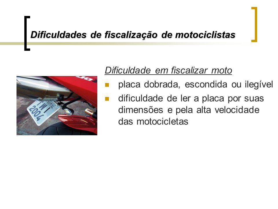 Dificuldade em fiscalizar moto placa dobrada, escondida ou ilegível dificuldade de ler a placa por suas dimensões e pela alta velocidade das motocicle