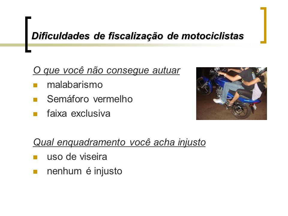 Dificuldades de fiscalização de motociclistas O que você não consegue autuar malabarismo Semáforo vermelho faixa exclusiva Qual enquadramento você ach