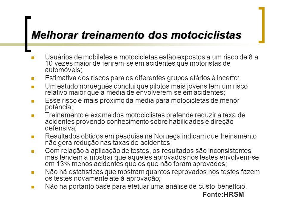 Melhorar treinamento dos motociclistas Usuários de mobiletes e motocicletas estão expostos a um risco de 8 a 10 vezes maior de ferirem-se em acidentes