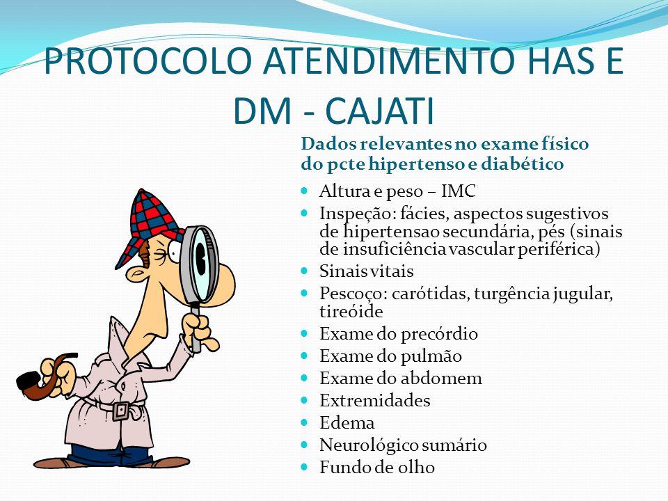 PROTOCOLO ATENDIMENTO HAS E DM - CAJATI Dados relevantes no exame físico do pcte hipertenso e diabético Altura e peso – IMC Inspeção: fácies, aspectos
